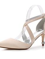 preiswerte -Damen Schuhe Satin Frühling Sommer Knöchelriemen Pumps D'Orsay und Zweiteiler Mary Jane Komfort Hochzeit Schuhe Kitten Heel-Absatz Strass