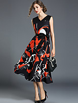 Недорогие -Жен. Уличный стиль С летящей юбкой Платье - Абстракция, Бант С принтом Средней длины