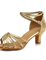 cheap -Women's Latin Faux Suede Patent Leather Sandal Heel Party Training Buckle Chunky Heel Gold 2 - 2 3/4inch Customizable