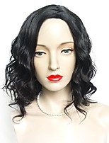 cheap -Synthetic Wig Wavy Side Part Asymmetrical Haircut Layered Haircut Natural Hairline Black Women's Capless Celebrity Wig Party Wig Natural