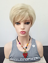 Недорогие -Парики из искусственных волос Прямой Боковая часть Искусственные волосы Жаропрочная Блондинка Парик Жен. Короткие Парик из натуральных
