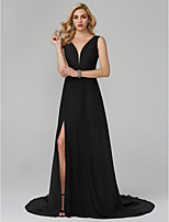 cheap -A-Line Plunging Neckline Sweep / Brush Train Chiffon Homecoming / Formal Evening Dress with Split Front by TS Couture®