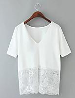 abordables -Tee-shirt Femme, Couleur Pleine Basique Col en V