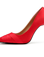 cheap -Women's Shoes Silk Spring Fall Basic Pump Comfort Heels Stiletto Heel for Casual Black Gray Red
