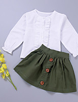 cheap -Girls' Solid Colored Clothing Set, Cotton Spring Long Sleeves Army Green