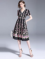 cheap -SHIHUATANG Women's Vintage Street chic A Line Dress - Floral, Beaded Bow