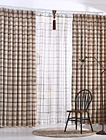 cheap -Curtains Drapes Living Room Stripe Lattice Contemporary Cotton / Polyester Printed