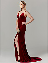 cheap -Mermaid / Trumpet Plunging Neckline Sweep / Brush Train Velvet Prom / Formal Evening Dress with Split Front by TS Couture®