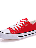 cheap -Women's Shoes Canvas Spring Fall Comfort Sneakers Walking Shoes Flat Heel Round Toe for Outdoor White Black Red Blue
