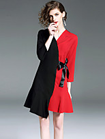 cheap -SHIHUATANG Women's Street chic A Line Dress - Color Block, Bow