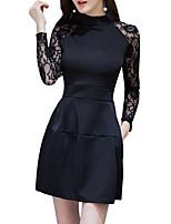 baratos -Mulheres Para Noite Moda de Rua Delgado Bainha Vestido - Renda, Sólido Gola Redonda Mini
