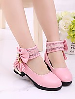 cheap -Girls' Shoes PU Spring Flower Girl Shoes Comfort Flats for Casual White Black Pink