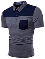 abordables -Polo Homme, Couleur Pleine - Coton Col de Chemise / Veuillez choisir une taille au dessus de votre taille normale. / Manches Courtes