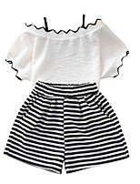 cheap -Girls' Daily Solid Colored Clothing Set, Polyester Summer Short Sleeves Cute White