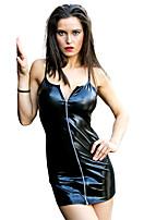 abordables -Robes Costume de Cosplay Costume Zentai Costumes de Cosplay Or Noir Fuchsia Couleur Pleine Robe Cuir verni Noël Halloween Carnaval
