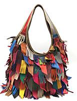 cheap -Women's Bags Cowhide Tote Tassel for Shopping Casual All Seasons Black Rainbow