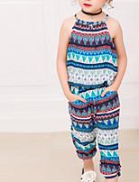 cheap -Kids Girls' Boho Print Sleeveless Clothing Set