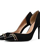 abordables -Femme Chaussures Tissu / Polyuréthane Eté / Automne Escarpin Basique Chaussures à Talons Talon Aiguille Bout pointu Rivet Noir / Chair