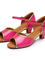 cheap -Women's Latin Leatherette Sandal Outdoor Professional Low Heel Fuchsia Green Customizable