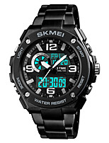 cheap -SKMEI Men's Digital Sport Watch Japanese Alarm Chronograph Water Resistant / Water Proof Stopwatch Three Time Zones Stainless Steel Band