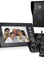 abordables -MOUNTAINONE SY818MJW-3 Sans Fil Photographié Enregistrement Sonnette vidéo Multifamilial 7 pouces Système Mains-Libres 640*480Pixel