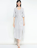 cheap -MARY YAN&YU Women's Simple Street chic A Line Dress - Striped