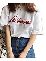 baratos -Mulheres Camiseta Básico Bordado, Letra