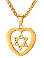 Недорогие -Муж. Жен. Сердце Нержавеющая сталь Ожерелья с подвесками  -  Мода Золотой Серебряный 55cm Ожерелье Назначение Повседневные