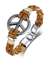 cheap -Men's Leather Cool Leather Bracelet - Casual Fashion Peace Sign Brown Bracelet For Daily School