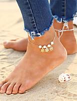 cheap -Floral Bohemian Bikini Rhinestone Imitation Pearl Anklet - Women's Gold Silver Floral Bohemian Bikini Circle Snowflake Alloy Anklet For