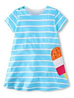 cheap -Girls' Striped Short Sleeves Dress