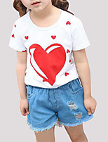 cheap -Girls' Daily Print Clothing Set, Rayon Summer Short Sleeves Cute Black Red