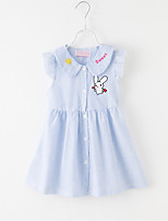cheap -Girl's Daily Striped Dress, Cotton Summer Sleeveless Cute Blue Blushing Pink