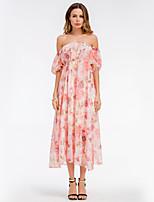 Недорогие -Жен. Классический А-силуэт С летящей юбкой Платье - Цветочный принт Макси