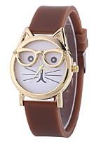 preiswerte -Damen Quartz Armband-Uhr Chinesisch Armbanduhren für den Alltag Silikon Band Freizeit Katze Schwarz Weiß Blau Rot Braun Rosa Himmelblau
