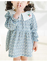 abordables -Robe Fille de Quotidien Géométrique Polyester Printemps Manches Longues Basique Bleu Rose Claire Jaune