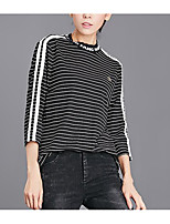 cheap -Women's Cotton T-shirt - Striped Tassel