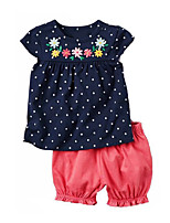 cheap -Girls' Going out Holiday Solid Colored Polka Dot Print Clothing Set, Cotton Acrylic Spring Summer Short Sleeves Cute Active Navy Blue