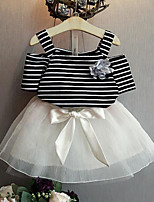 cheap -Girls' Daily Striped Clothing Set, Rayon Polyester Summer Short Sleeves Cute White Black