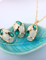cheap -Women's Opal Jewelry Set 1 Necklace Earrings - Fashion Sweet Rose Red Green Jewelry Set For Wedding Evening Party