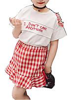 Недорогие -Девочки Повседневные С принтом Набор одежды, Хлопок Искусственный шёлк Лето С короткими рукавами Классический Красный
