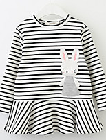 cheap -Girl's Daily Striped Dress, Cotton Spring Fall Long Sleeves Cute White Black