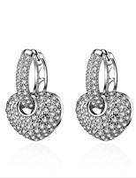 cheap -Women's Princess / Heart Sterling Silver / Zircon / Gold Plated Stud Earrings / Hoop Earrings - Fashion / Korean / European Silver