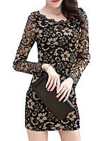 baratos -Mulheres Moda de Rua Tubinho Bainha Vestido - Renda, Sólido Mini