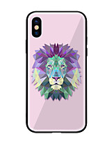 cheap -Case For Apple iPhone X iPhone 8 Pattern Back Cover Lion Hard Tempered Glass for iPhone X iPhone 8 Plus iPhone 8 iPhone 7 iPhone 6s Plus