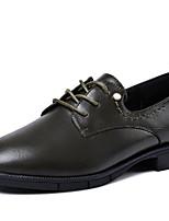 abordables -Femme Chaussures Polyuréthane Printemps / Automne Confort Oxfords Talon Bas Bout rond Noir / Gris / Vert