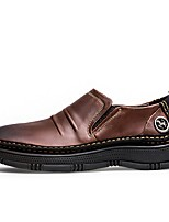 Недорогие -Муж. обувь Кожа Весна Осень Удобная обувь Мокасины и Свитер для Повседневные на открытом воздухе Темно-русый Темно-коричневый