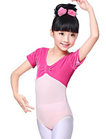 cheap -Ballet Leotards Girls' Training Performance Cotton Satin Bow Ruching Short Sleeves Natural Leotard / Onesie