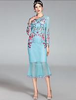 Недорогие -Жен. Оболочка Платье - Цветочный принт, Классический Завышенная