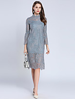 cheap -SHIHUATANG Women's Vintage Street chic Flare Sleeve Sheath Dress - Solid Colored Lace